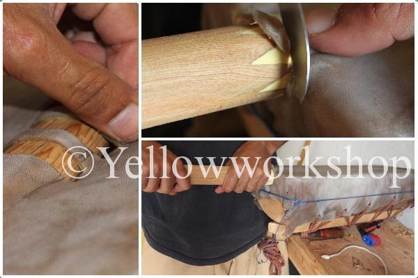 dromedary skin, working process guimbri, guembri
